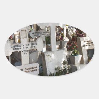 Cementerio griego pegatina ovalada