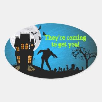 Cementerio Halloween del zombi Pegatina Ovalada