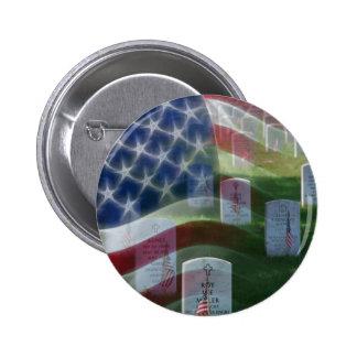 Cementerio nacional de Arlington, bandera american Pin Redondo 5 Cm