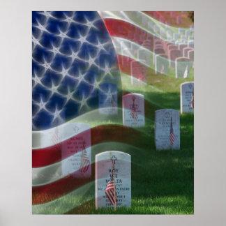 Cementerio nacional de Arlington, bandera american Póster