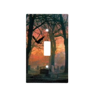 Cementerio rojo gótico del cuervo tapa para interruptor
