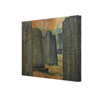 Cementerio y lápidas mortuorias impresión en lienzo estirada