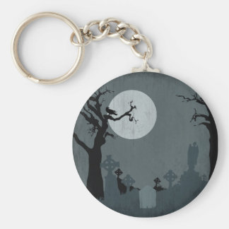 Cementerio y Luna Llena para Halloween Llavero