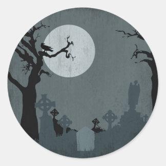 Cementerio y Luna Llena para Halloween Pegatinas Redondas