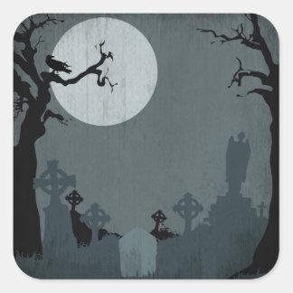 Cementerio y Luna Llena para Halloween Calcomania Cuadradas