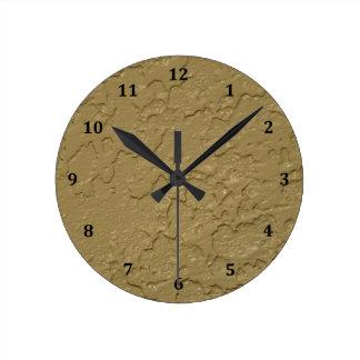 Cemento beige de color topo del estuco reloj redondo mediano