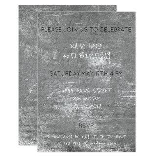"""Cemento sucio apenado cumpleaños de los gris invitación 3.5"""" x 5"""""""