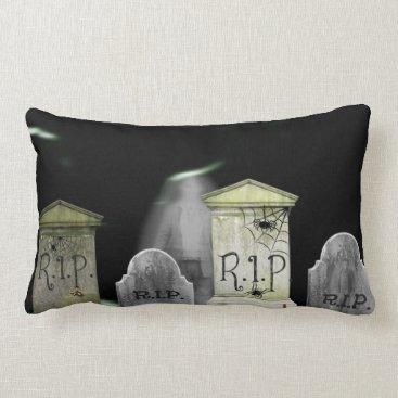 Halloween Themed Cemetary Ghosts Lumbar Pillow