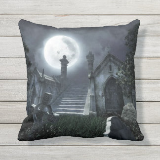 Cemetery at Night Outdoor Pillow
