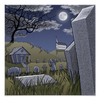 Cemetery at Night Poster