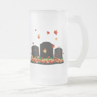 Cemetery Autumn Frosted Glass Beer Mug