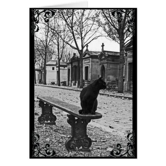 Cemetery Black Cat Gothic Victorian Card