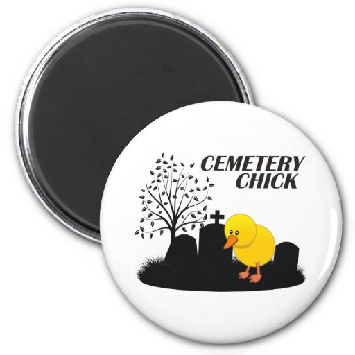 Cemetery Chick 2 Inch Round Magnet
