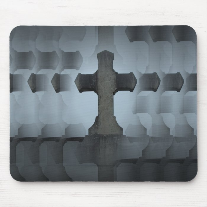 cemetery cross illusion mouse pad