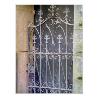 Cemetery Doors- Fleur de Lis Wrought Iron Poster