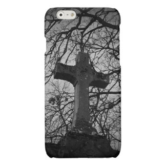 Cemetery grave cross sheltered by tree branches glossy iPhone 6 case