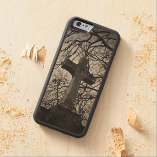 Cemetery grave cross sheltered by tree branches carved® maple iPhone 6 bumper case