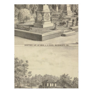 Cemetery lot Sacto, res Woodland Postcard