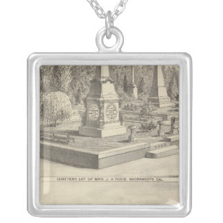 Cemetery lot Sacto, res Woodland Square Pendant Necklace