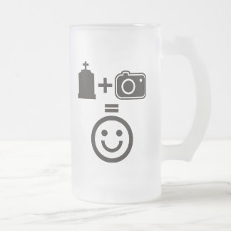 Cemetery Photography Smiley Frosted Glass Beer Mug
