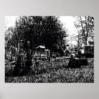 Cemetery Rain Poster