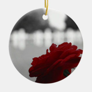 Cemetery & Red Rose - Memorial Day Ceramic Ornament