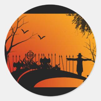Cemetery Road Halloween Round Stickers