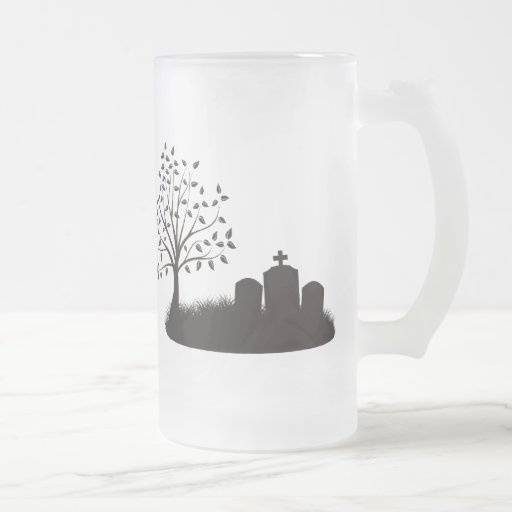 Cemetery Scene 16 Oz Frosted Glass Beer Mug