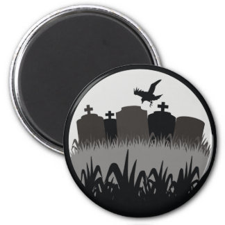 Cemetery Scene 2 Inch Round Magnet