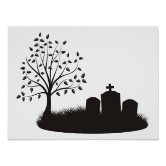 Cemetery Scene Print