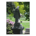 Cemetery Statue with Leaves and Flowers Greeting Cards