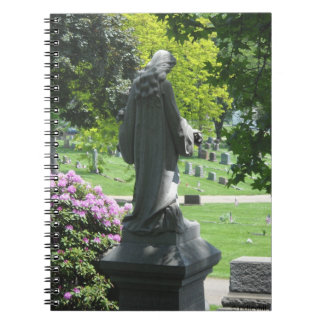Cemetery Statue with Leaves and Flowers Spiral Note Book