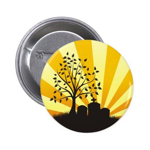 Cemetery Sunburst 2 Inch Round Button