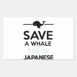 Cena - ahorre una ballena comen un japonés rectangular pegatina