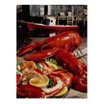 Cena atlántica fresca deliciosa de la langosta en  tarjeta postal