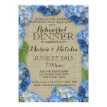 Cena azul 5x7 del ensayo de los Hydrangeas Invitacion Personalizada