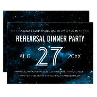 """Cena azul del ensayo del boda de la galaxia invitación 5"""" x 7"""""""