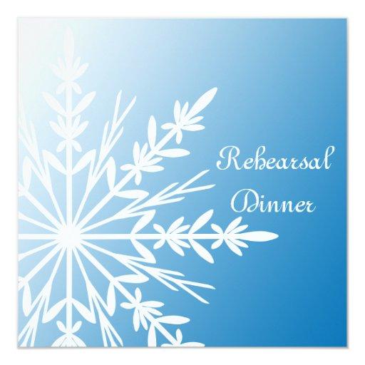 """Cena azul del ensayo del boda del invierno del invitación 5.25"""" x 5.25"""""""