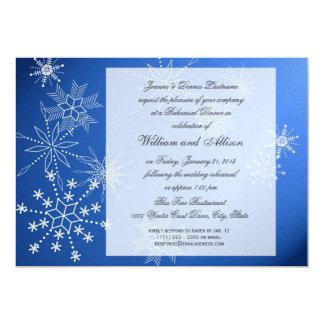 """Cena azul del ensayo del zafiro del copo de nieve invitación 5"""" x 7"""""""