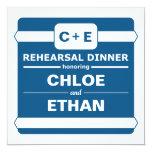 Cena azul del ensayo invitación 13,3 cm x 13,3cm