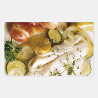 Cena cocida de los pescados rectangular pegatina