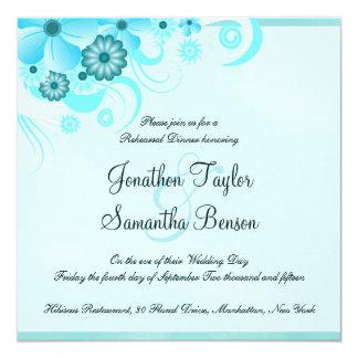 """Cena cuadrada azul del ensayo del boda de la invitación 5.25"""" x 5.25"""""""