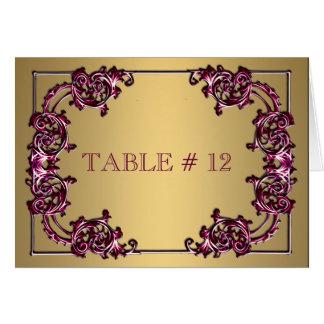 Cena de boda adornada del número de la tabla del tarjeta pequeña