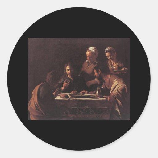 Cena de Caravaggio en Emmaus Etiqueta Redonda