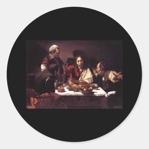 Cena de Caravaggio en Emmaus Pegatina Redonda