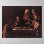 Cena de Caravaggio en Emmaus Póster