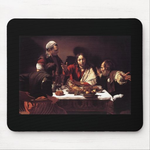 Cena de Caravaggio en Emmaus Tapete De Ratón