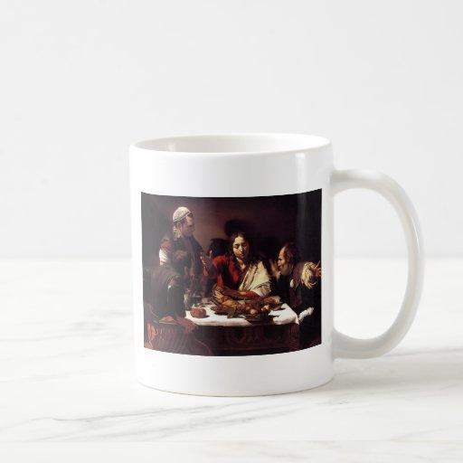 Cena de Caravaggio en Emmaus Taza De Café