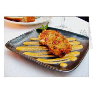Cena de Crabcakes de la comida Tarjeta