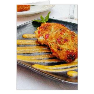 Cena de Crabcakes de la comida Tarjetón